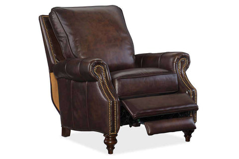"Horatio Chateau ""Quick Ship"" Traditional Nailhead Leather Recliner"