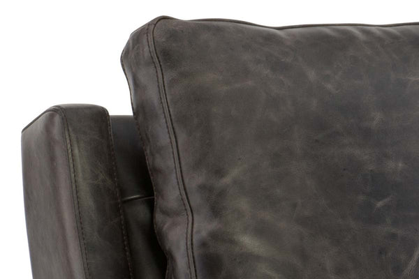 "Ian ""Quick Ship"" Transitional Track Arm Pillow Back Leather Accent Chair"