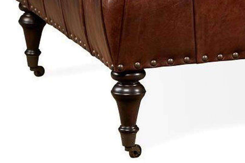 "Ingram ""Quick Ship"" 42 Inch Square Tufted Square Leather Cocktail Ottoman"
