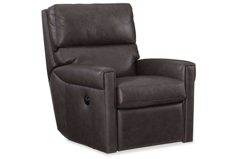 "Living Room Furniture Recliner Chairs Leather Jameson ""Quick Ship"" Leather Power Swivel Recliner Chair"