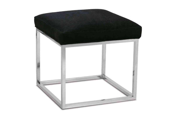"Ottomans & Benches Jansen ""Designer Style"" Side Table With Upholstered Top And Chrome Metal Base"