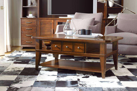 Living Room Furniture Coffee Tables Jenkins Transitional Wood Coffee Table With Drawer And Shelf