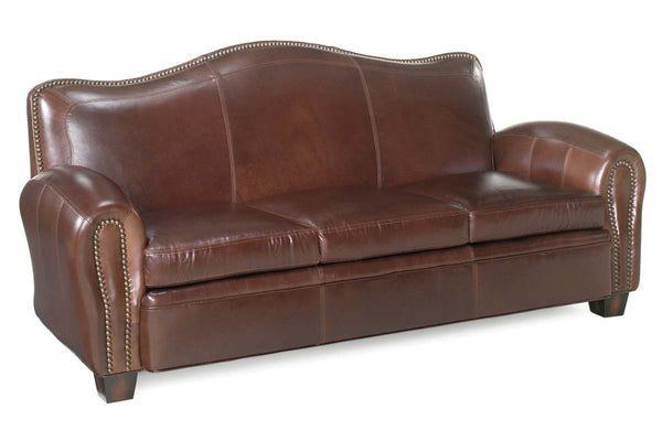 Jonathan Leather Tight Camelback Loveseat With Nail Head Trim