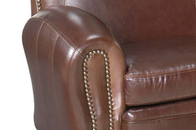 Jonathan 81 Inch Leather Camelback Sofa With Nail Trim
