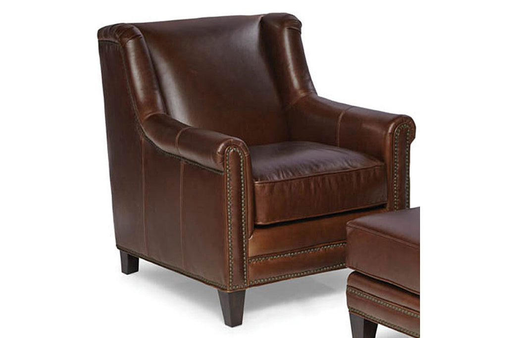 Joshua Walnut Quick Ship Small Wingback Leather Accent Chair