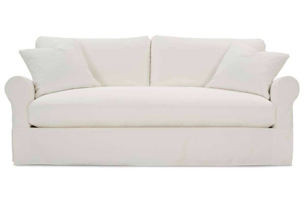"Kaley I 94 Inch ""Designer Style"" Single Bench Cushion Fabric Slipcovered Sofa"