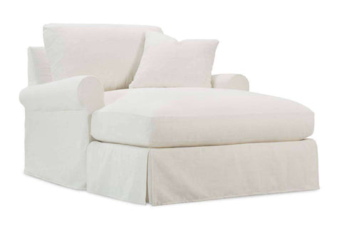 "Kaley ""Oversized"" Slipcovered Pillow Back Two Arm Chair w/ Chaise Conversion Kit"