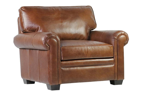 "Kingston ""Quick Ship"" Traditional Top Grain Leather Pillow Back Chair"
