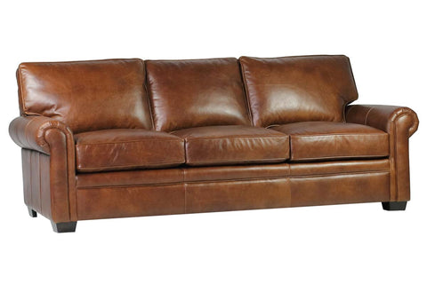 "Kingston 92 Inch ""Quick Ship"" Traditional Top Grain Leather Pillow Back Sofa"