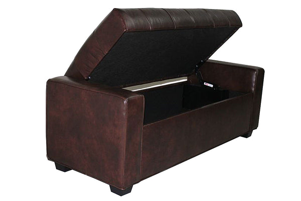 Landon 58 Inch Long Storage Ottoman Bench With Hinged Top