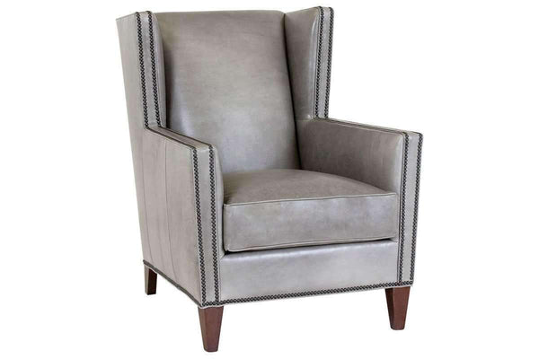 Leather Accent Chairs And Chaise Clyde Transitional Leather Wingback Accent Chair