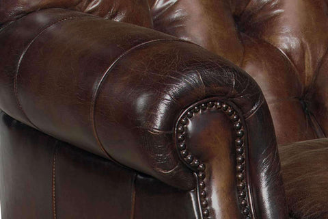 "Leather Accent Chairs And Chaise Gleason ""Designer Style"" Large Tufted Club Chair"