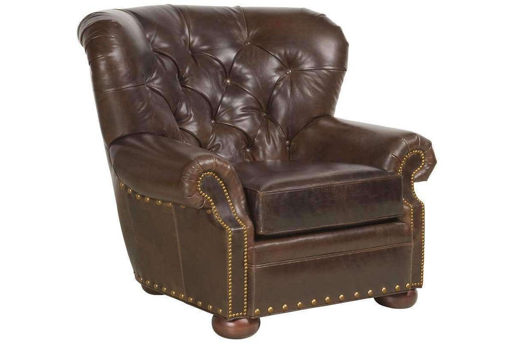 Leather Accent Chairs And Chaise Hadley Button Tufted Leather Chesterfield Club  Chair ...