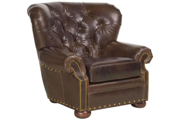 Leather Accent Chairs And Chaise Hadley Button Tufted Leather Chesterfield Club Chair