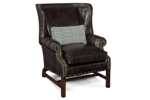 Leather Accent Chairs And Chaise Humphrey Chippendale Leather Chair With Decorative Wood Base