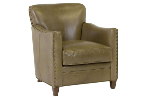 Leather Accent Chairs And Chaise Kenneth Tight Back Accent Chair With Nail Trim