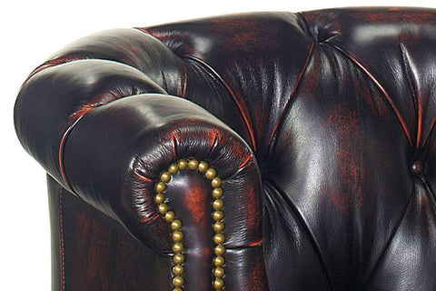 Leather Accent Chairs And Chaise Louis Button Tufted Leather Chesterfield Tub Chair With Nail Trim