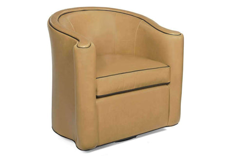 Leather Accent Chairs And Chaise Roman Leather Tub Swivel Barrel Chair