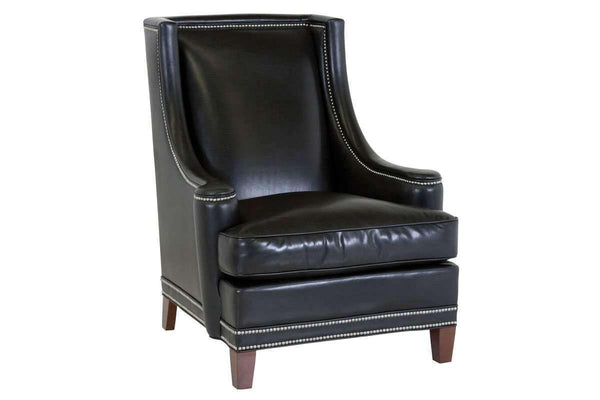 Leather Accent Chairs And Chaise Walter Tall Back Contemporary Leather Wingback Chair