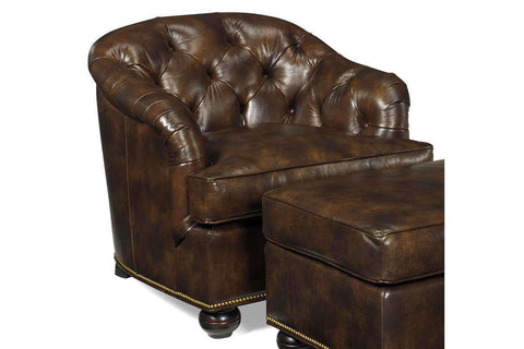 Leather Accent Chairs And Chaise Welby Tufted Leather Tub Chair With Nail Trim