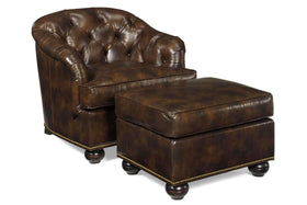 Welby Tufted Leather Tub Chair With Nail Trim