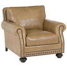 "Leather Furniture Archie ""Designer Style"" Traditional Leather Club Chair w/ Nailhead Trim"
