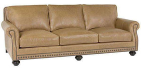 "Leather Furniture Archie ""Designer Style"" Traditional Leather Three Leg Sofa w/ Bun Feet"