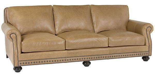 Archie Designer Style Traditional Leather Three Leg Sofa w/ Bun Feet