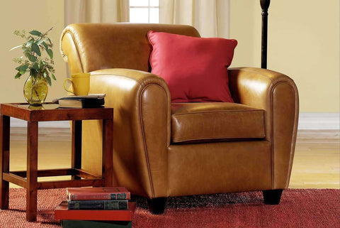 Leather Furniture Baxter Leather Rolled Back Reclining Cigar Arm Chair