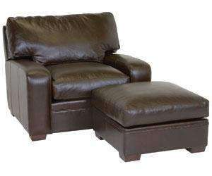 "Leather Furniture Benjamin ""Designer Style"" Saddle Stitched Track Arm Leather Chair w/ Saddle Stitching"