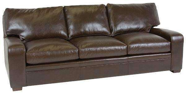 "Leather Furniture Benjamin ""Designer Style"" Saddle Stitched Track Arm Leather Sofa"