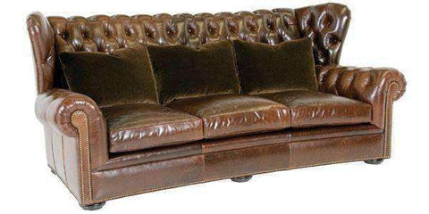 "Leather Furniture Carmichael ""Designer Style"" Chesterfield Leather Tufted Couch"