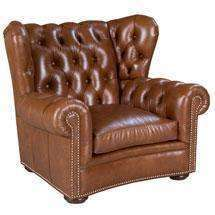 "Leather Furniture Carmichael ""Designer Style"" Tufted Leather Chair"