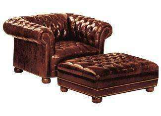 Leather Furniture Chesterfield Deep Button Tufted Leather Club Chair With Nail Trim