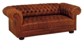 Leather Furniture Chesterfield Tufted Leather Loveseat With Nailhead Trim