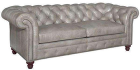"Leather Furniture Colburn ""Designer Style"" Chesterfield Tufted Leather Queen Sleeper Sofa"