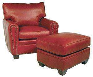 "Leather Furniture Crowley ""Designer Style"" Oval Arm Leather Club Chair w/ Nailhead Trim"