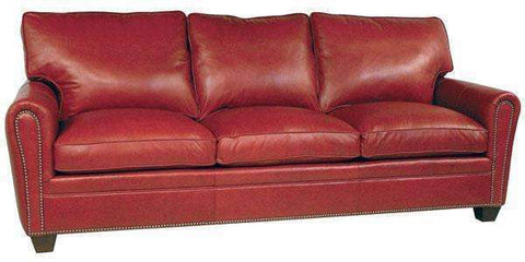 "Leather Furniture Crowley ""Designer Style"" Pillow Back Leather Loveseat w/ Nailhead Trim"