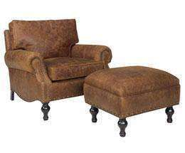 Leather Furniture Dewey Large Leather Chair And Ottoman