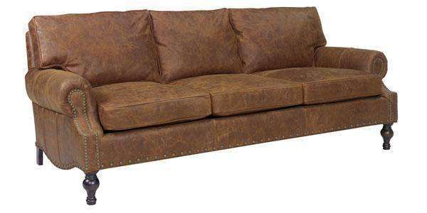 Leather Furniture Dewey Oversized Rustic Leather Sofa