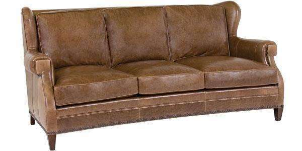 "Leather Furniture Douglas ""Designer Style"" Leather Wingback Sofa w/ Nailhead Trim"