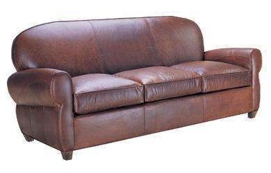 Edison Art Deco Leather Rounded Back Cigar 2 Seat Loveseat Club Furniture