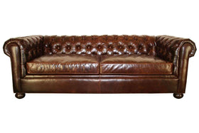 Leather Furniture Empire 78 Inch Apartment Size Tufted Leather Chesterfield Studio Sofa