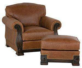 "Leather Furniture Godfrey ""Designer Style"" European Lodge Leather Club Chair w/ Carved Wood Base"
