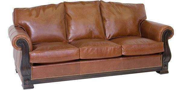 "Leather Furniture Godfrey ""Designer Style"" Victorian Lodge Leather Sofa w/ Carved Wood Base"