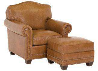 "Leather Furniture Harmon ""Designer Style"" Arched Back Leather Chair w/ Nailhead Trim"
