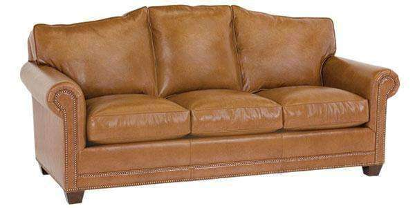 Harmon Designer Style Arched Back Leather Grand Scale Sofa w/ Nailhead Trim