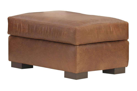 Leather Furniture Harrison Leather Top Stitched Footstool Ottoman