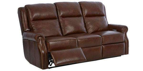 "Leather Furniture Hobart Electric Power Reclining Sofa With ""Comfort Control Plus"""