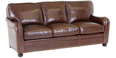 "Leather Furniture Howell ""Designer Style"" English Arm Leather Apartment Size Sofa"
